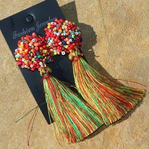 New! Large Multi Boho Earrings Post Drop Tassels